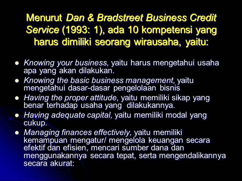 Menurut Dan & Bradstreet Business Credit Service (1993: 1), ada 10 kompetensi yang harus dimiliki seorang wirausaha, yaitu: