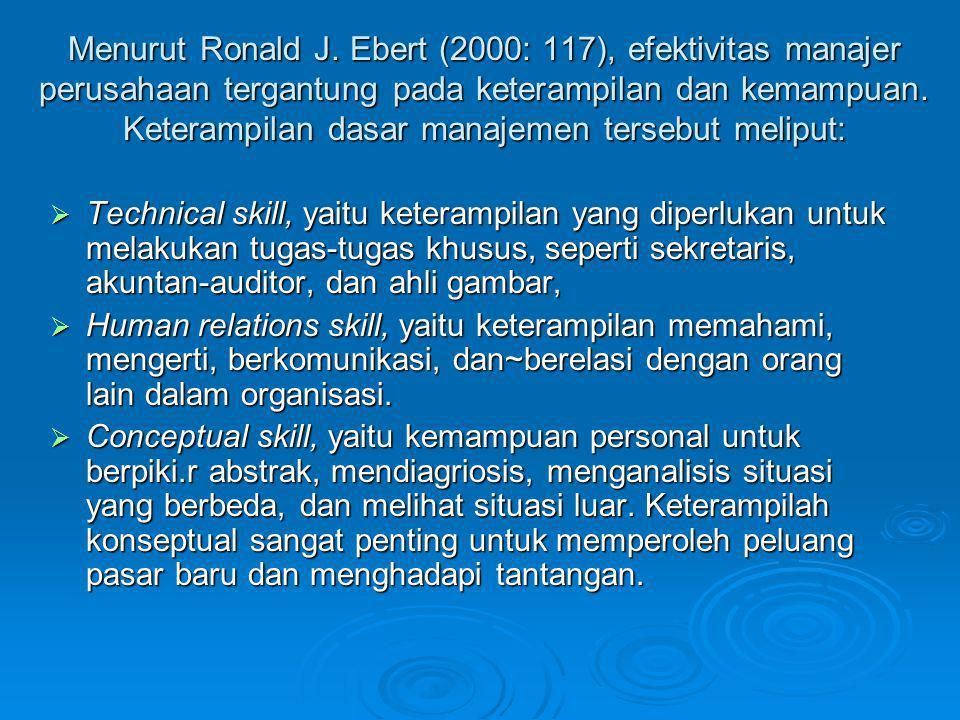 Menurut Ronald J. Ebert (2000: 117), efektivitas manajer perusahaan tergantung pada keterampilan dan kemampuan. Keterampilan dasar manajemen tersebut meliput: