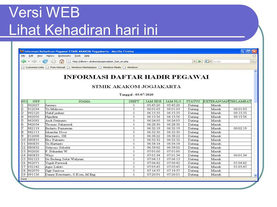 Versi WEB Lihat Kehadiran hari ini