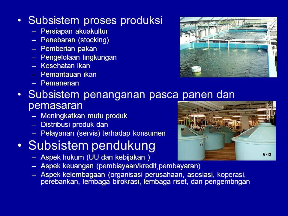 Subsistem pendukung Subsistem proses produksi