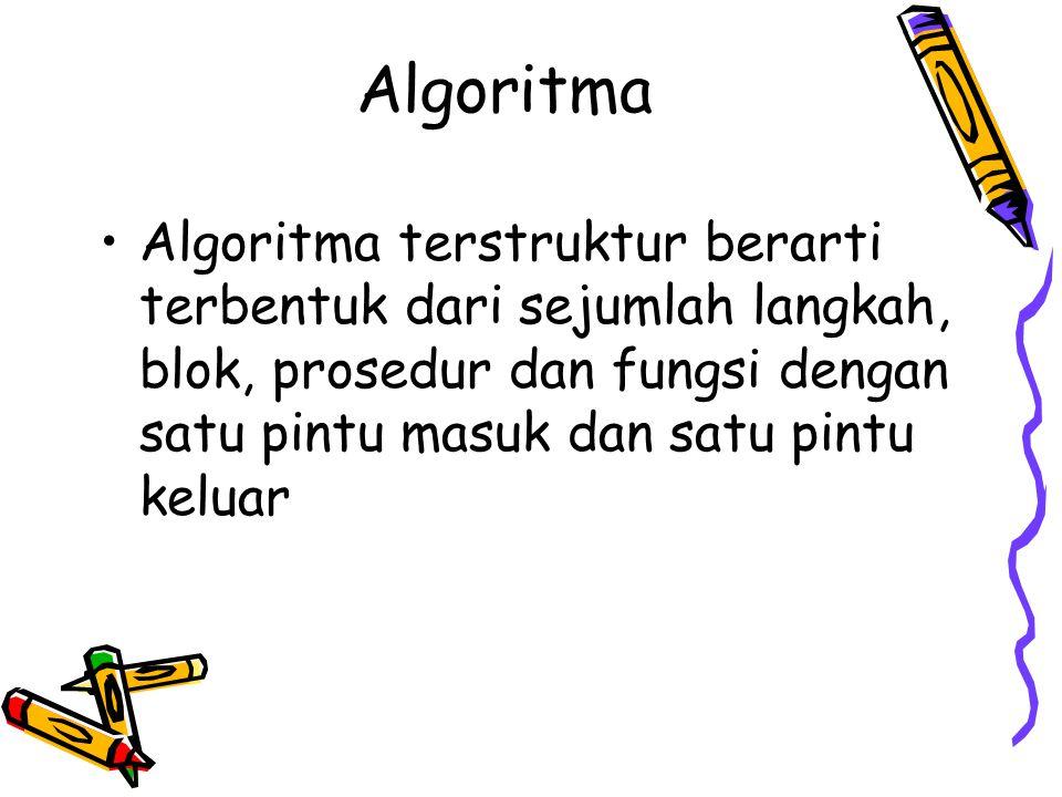 Algoritma Algoritma terstruktur berarti terbentuk dari sejumlah langkah, blok, prosedur dan fungsi dengan satu pintu masuk dan satu pintu keluar.