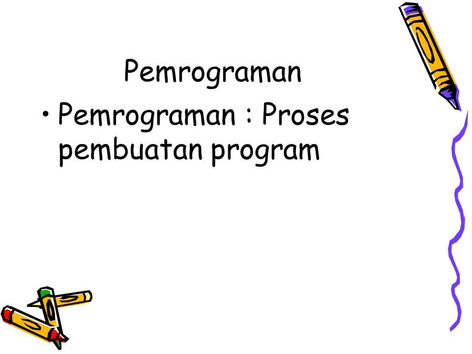 Pemrograman Pemrograman : Proses pembuatan program