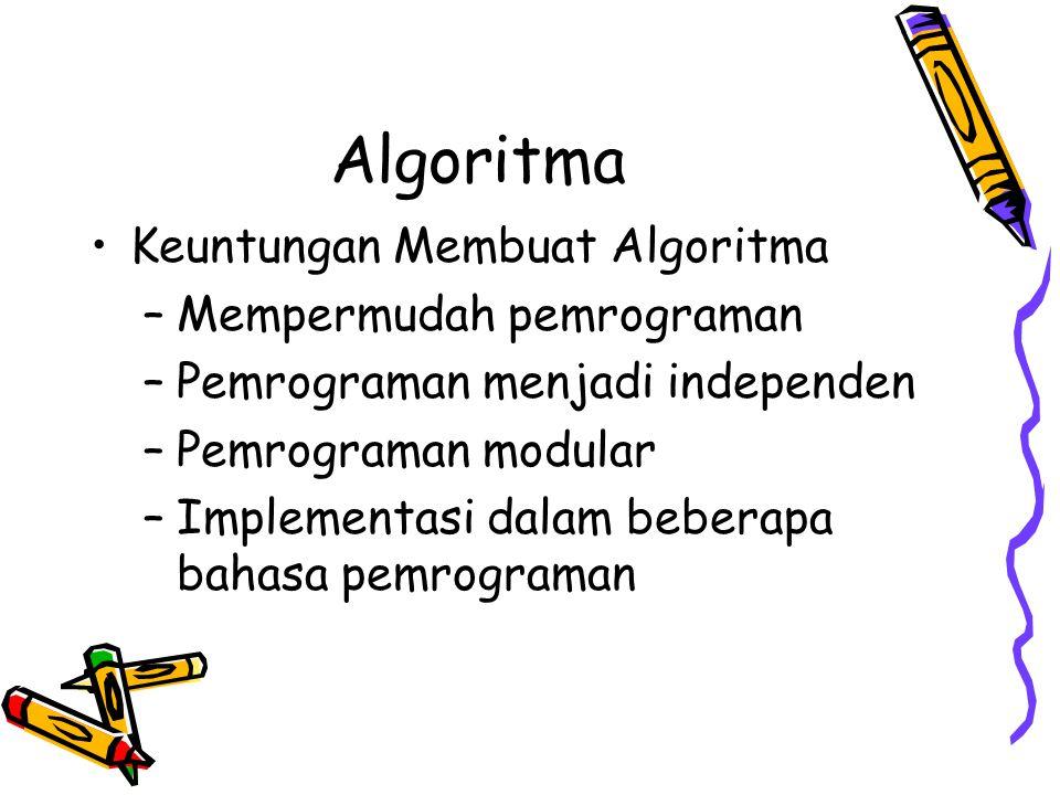 Algoritma Keuntungan Membuat Algoritma Mempermudah pemrograman