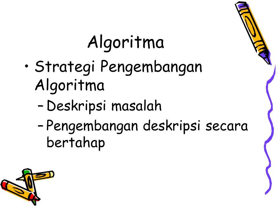 Algoritma Strategi Pengembangan Algoritma Deskripsi masalah