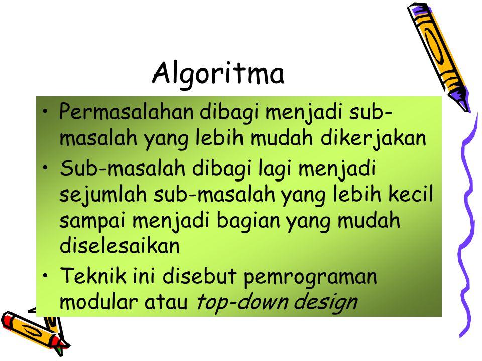 Algoritma Permasalahan dibagi menjadi sub-masalah yang lebih mudah dikerjakan.