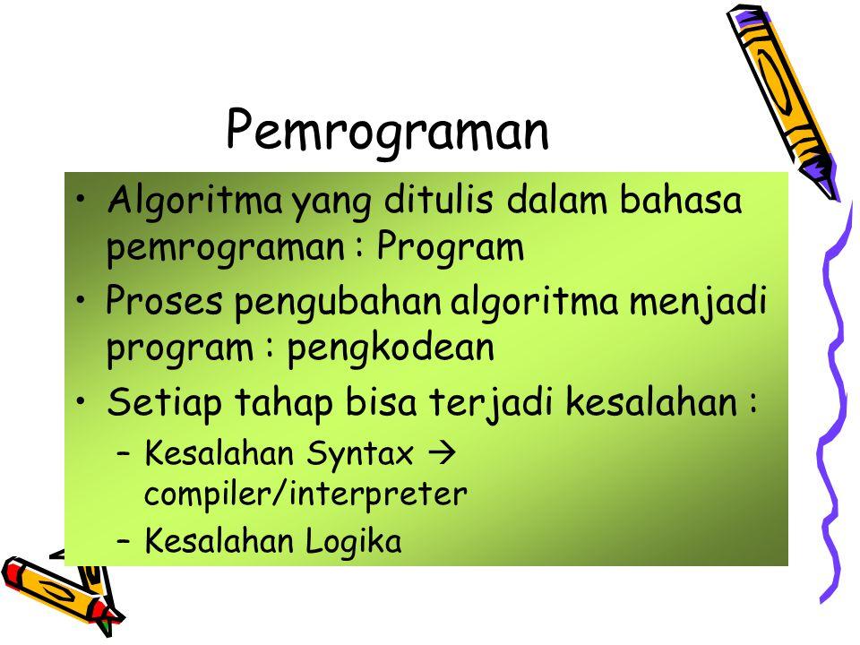 Pemrograman Algoritma yang ditulis dalam bahasa pemrograman : Program