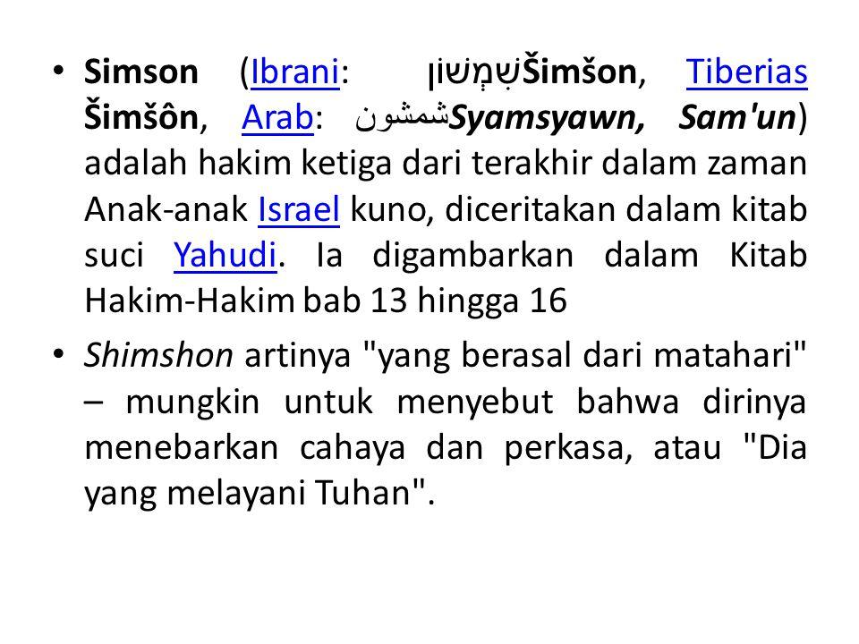 Simson (Ibrani: שִׁמְשׁוֹן Šimšon, Tiberias Šimšôn, Arab:شمشون Syamsyawn, Sam un) adalah hakim ketiga dari terakhir dalam zaman Anak-anak Israel kuno, diceritakan dalam kitab suci Yahudi. Ia digambarkan dalam Kitab Hakim-Hakim bab 13 hingga 16