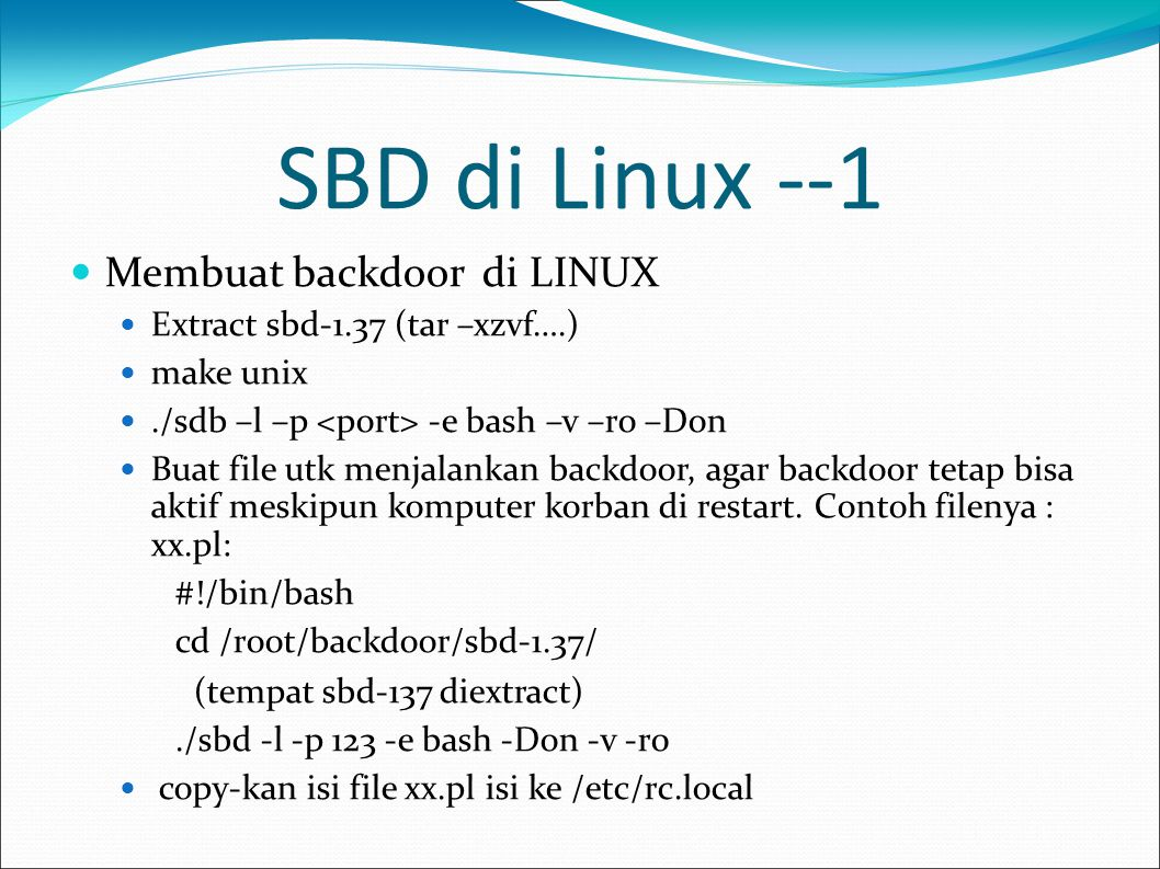 SBD di Linux --1 Membuat backdoor di LINUX