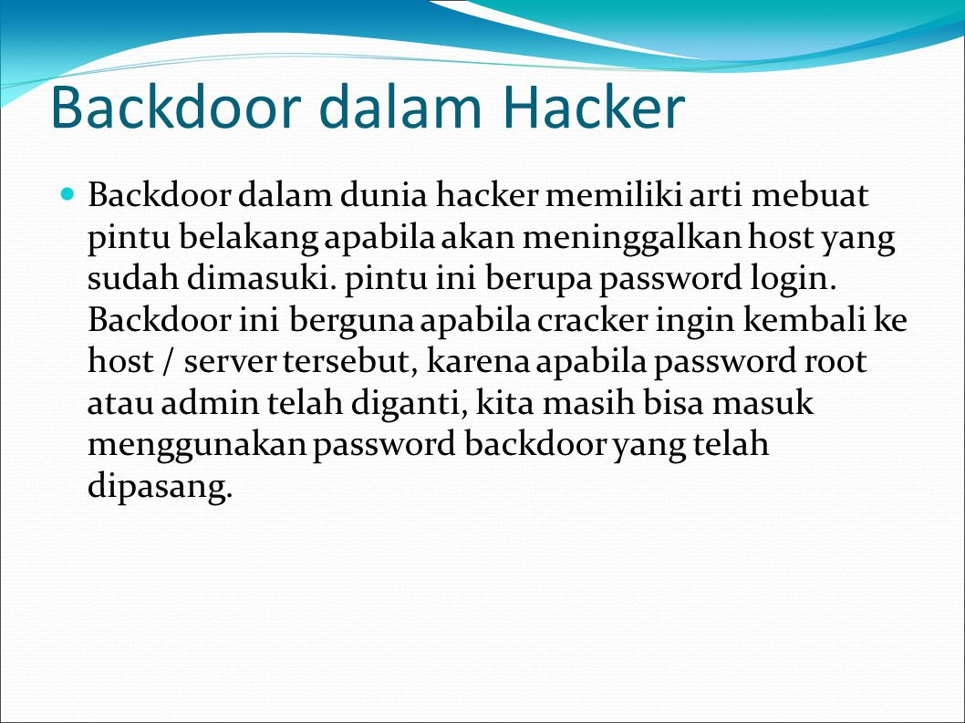 Backdoor dalam Hacker