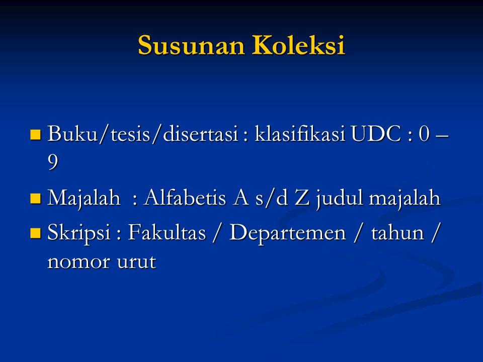 Susunan Koleksi Buku/tesis/disertasi : klasifikasi UDC : 0 – 9