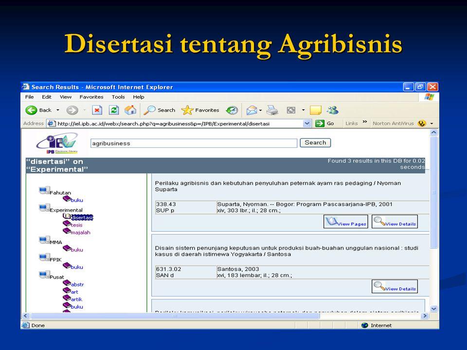 Disertasi tentang Agribisnis