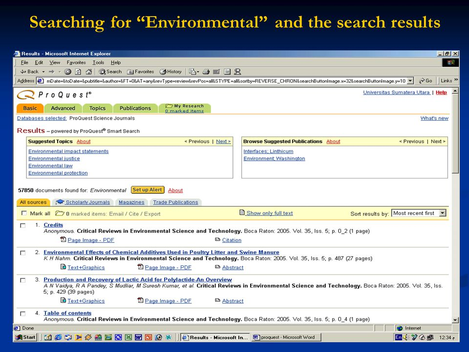 Searching for Environmental and the search results