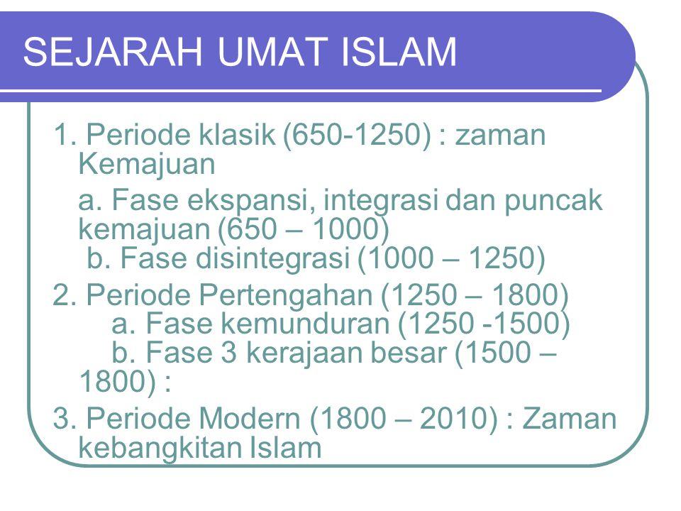 SEJARAH UMAT ISLAM 1. Periode klasik (650-1250) : zaman Kemajuan