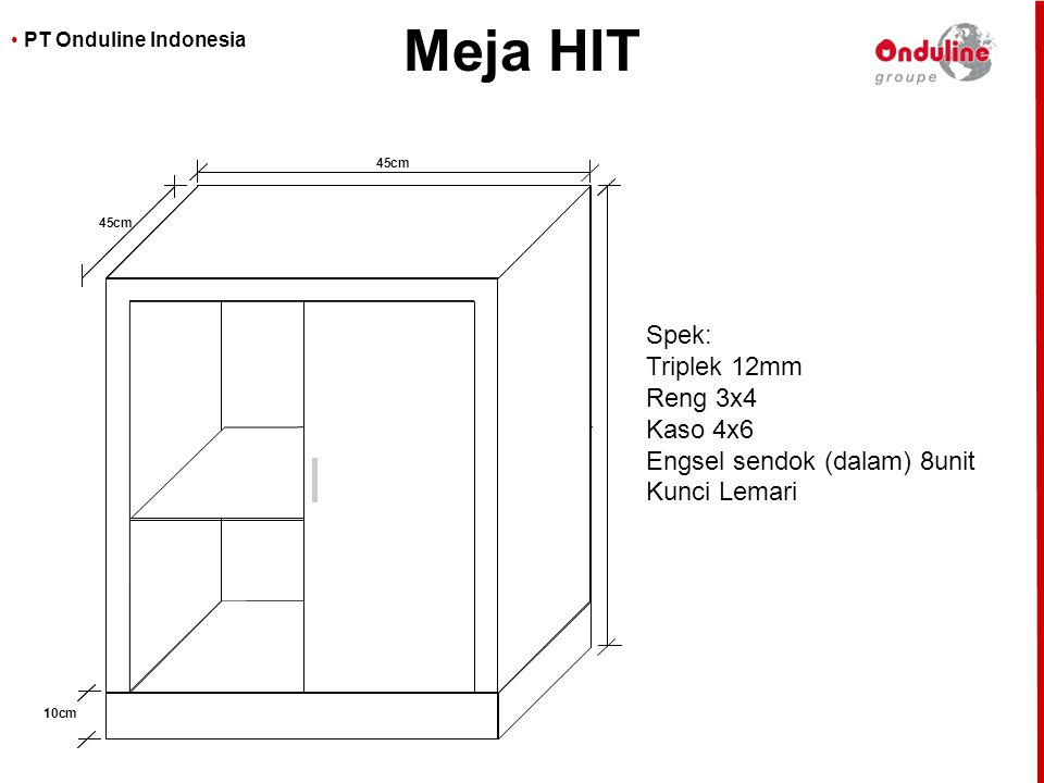 Meja HIT Spek: Triplek 12mm Reng 3x4 Kaso 4x6