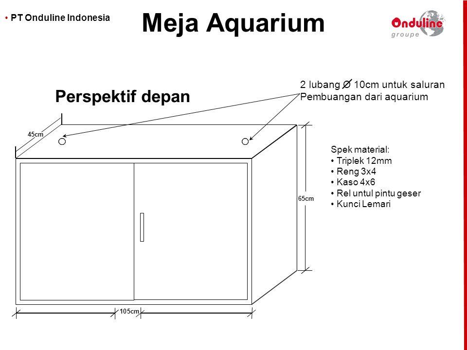 Meja Aquarium Perspektif depan 2 lubang O 10cm untuk saluran