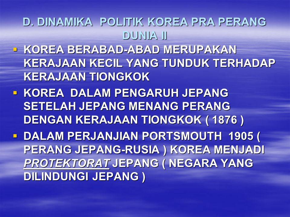 D. DINAMIKA POLITIK KOREA PRA PERANG DUNIA II