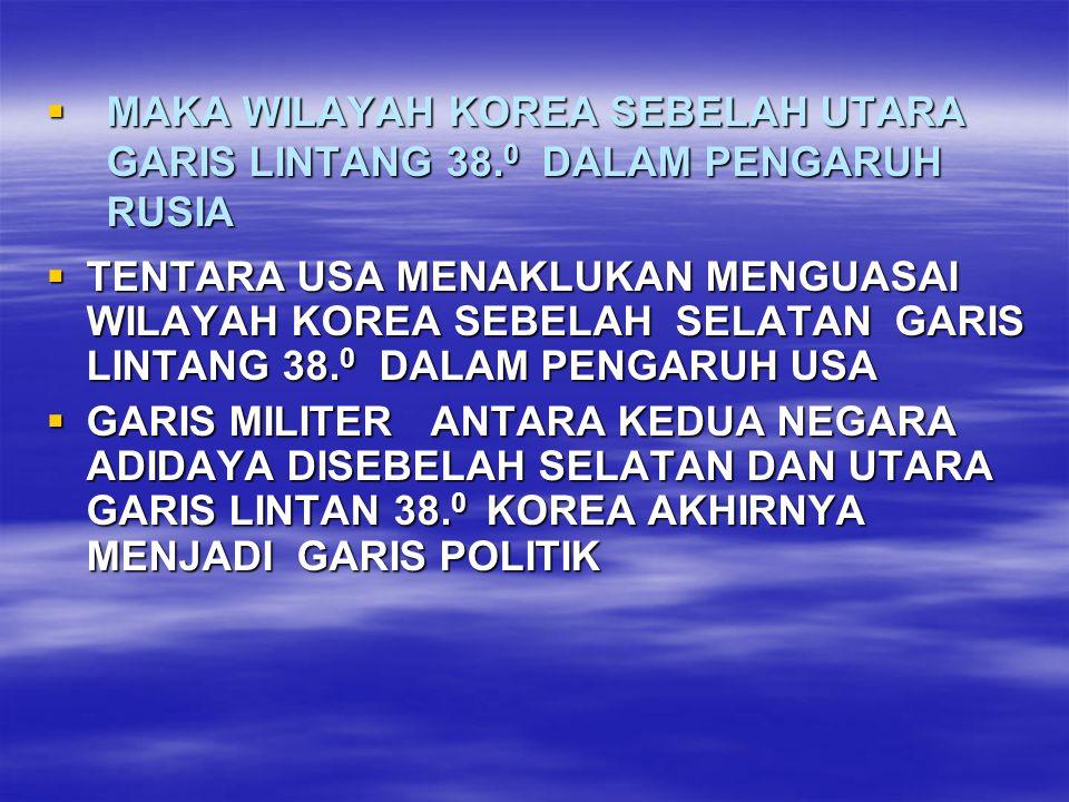 MAKA WILAYAH KOREA SEBELAH UTARA GARIS LINTANG 38