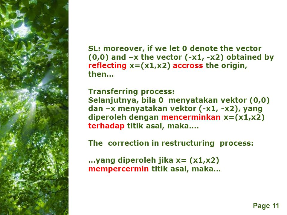 SL: moreover, if we let 0 denote the vector (0,0) and –x the vector (-x1, -x2) obtained by reflecting x=(x1,x2) accross the origin, then…