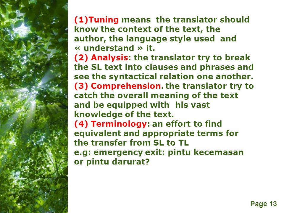 (1)Tuning means the translator should know the context of the text, the author, the language style used and « understand » it.
