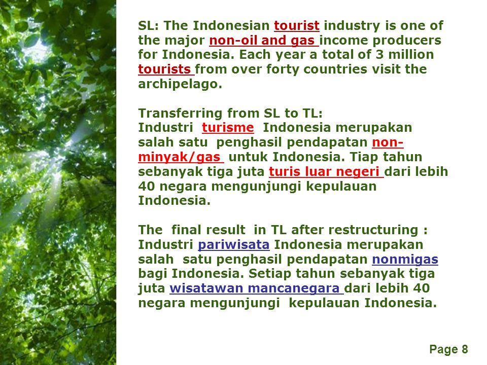 SL: The Indonesian tourist industry is one of the major non-oil and gas income producers for Indonesia. Each year a total of 3 million tourists from over forty countries visit the archipelago.