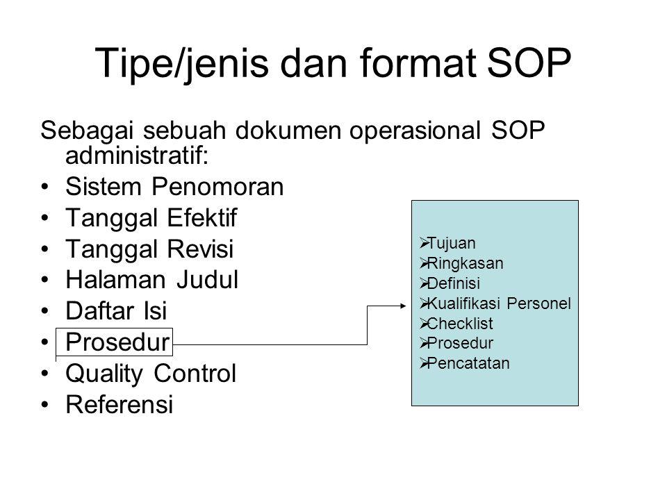Tipe/jenis dan format SOP