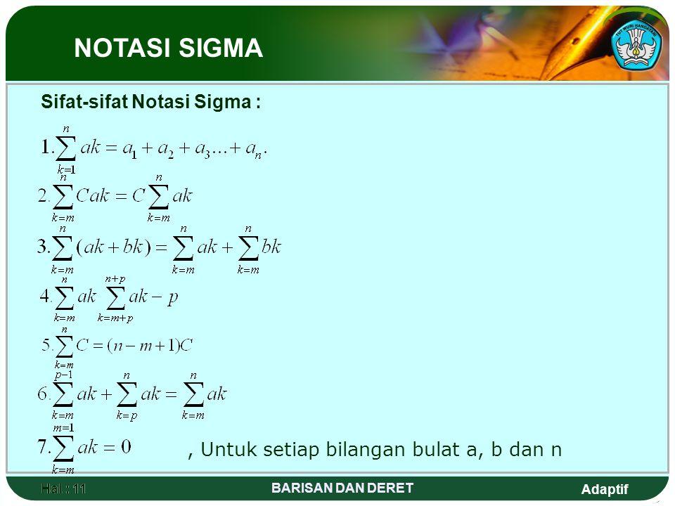 Sifat-sifat Notasi Sigma :