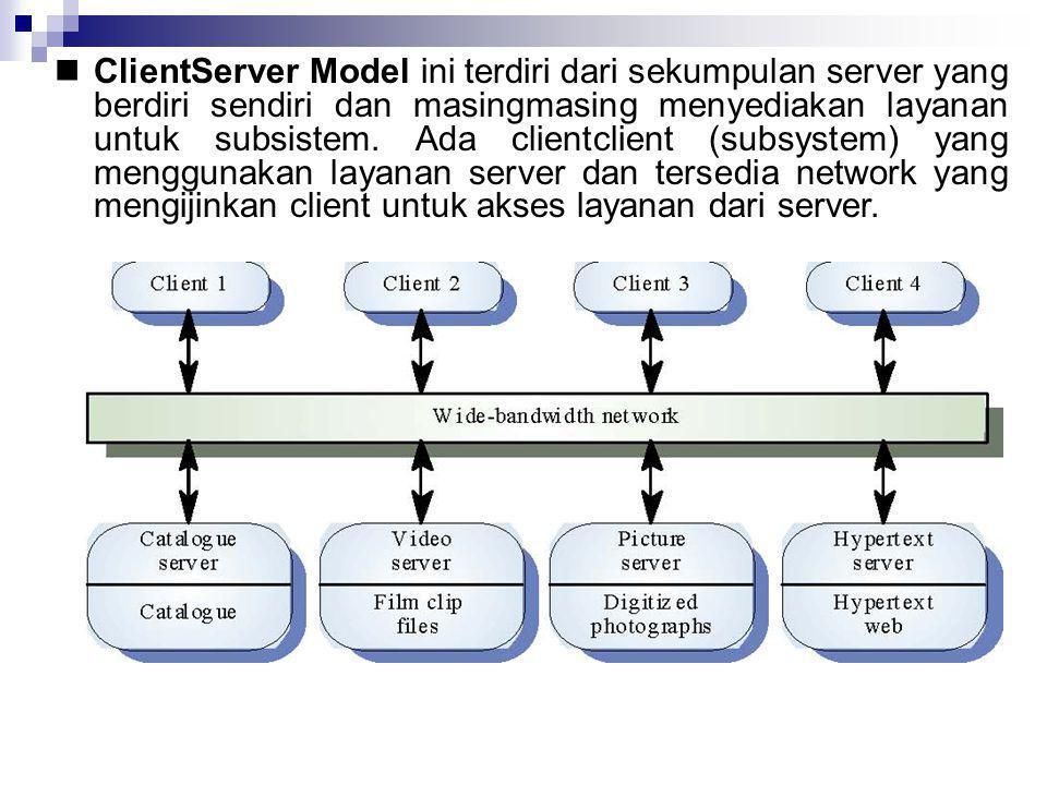 ClientServer Model ini terdiri dari sekumpulan server yang berdiri sendiri dan masingmasing menyediakan layanan untuk subsistem.