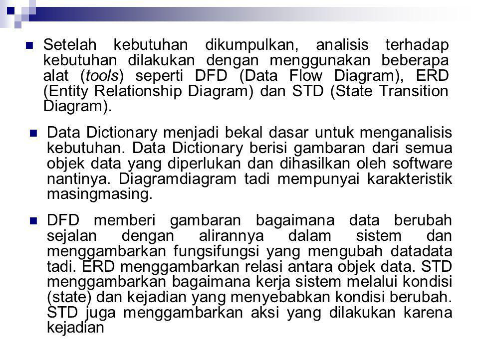 Setelah kebutuhan dikumpulkan, analisis terhadap kebutuhan dilakukan dengan menggunakan beberapa alat (tools) seperti DFD (Data Flow Diagram), ERD (Entity Relationship Diagram) dan STD (State Transition Diagram).