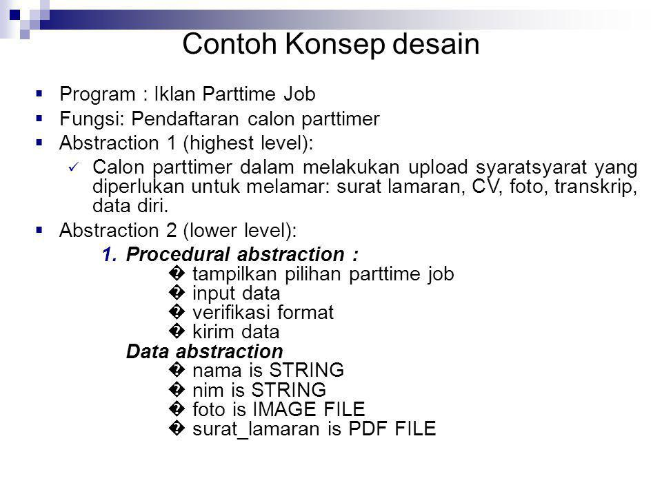 Contoh Konsep desain Program : Iklan Parttime Job