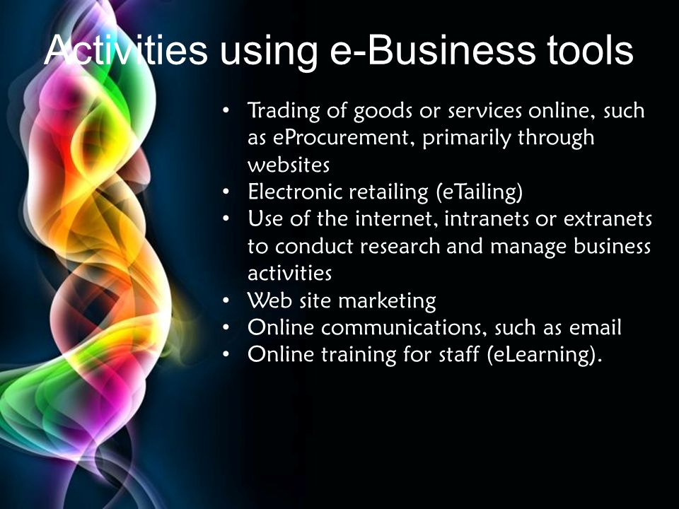 Activities using e-Business tools