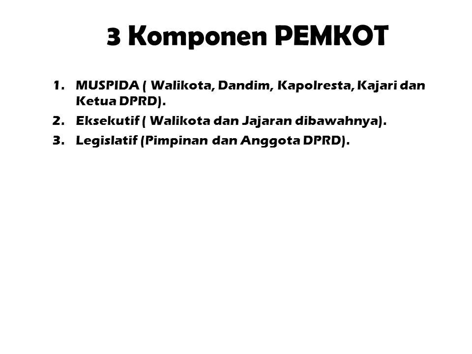 3 Komponen PEMKOT MUSPIDA ( Walikota, Dandim, Kapolresta, Kajari dan Ketua DPRD). Eksekutif ( Walikota dan Jajaran dibawahnya).
