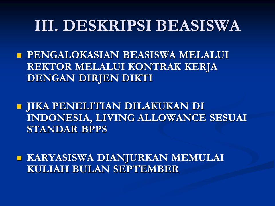 III. DESKRIPSI BEASISWA