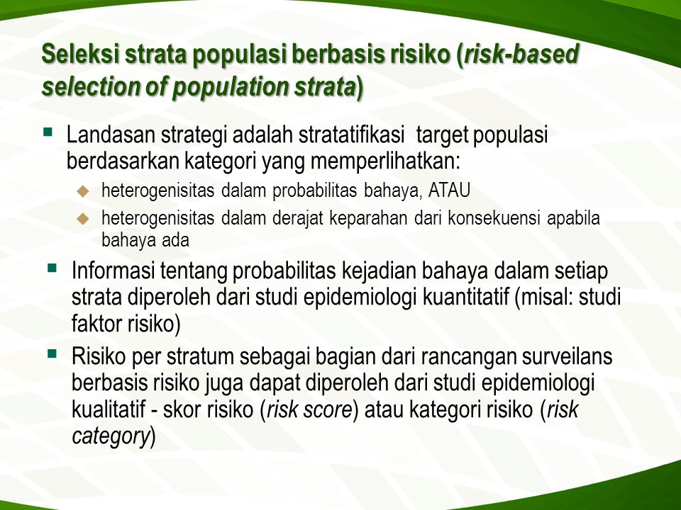 Seleksi strata populasi berbasis risiko (risk-based selection of population strata)