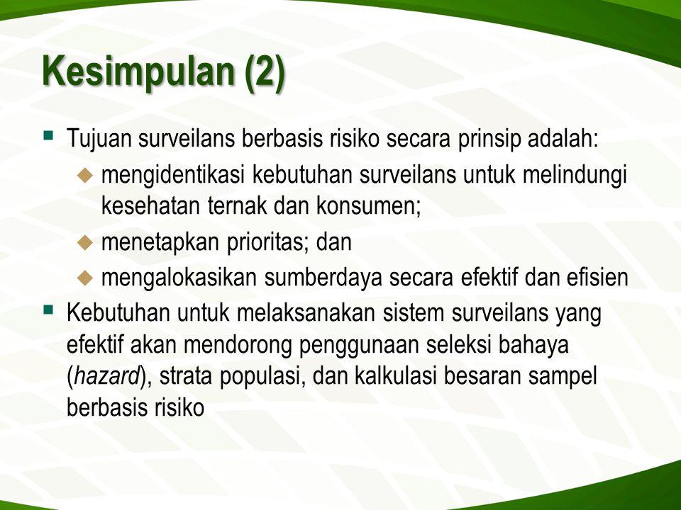 Kesimpulan (2) Tujuan surveilans berbasis risiko secara prinsip adalah: