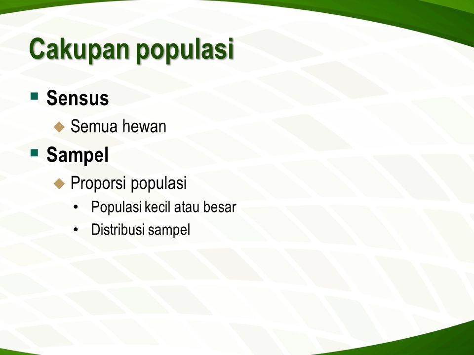 Cakupan populasi Sensus Sampel Semua hewan Proporsi populasi