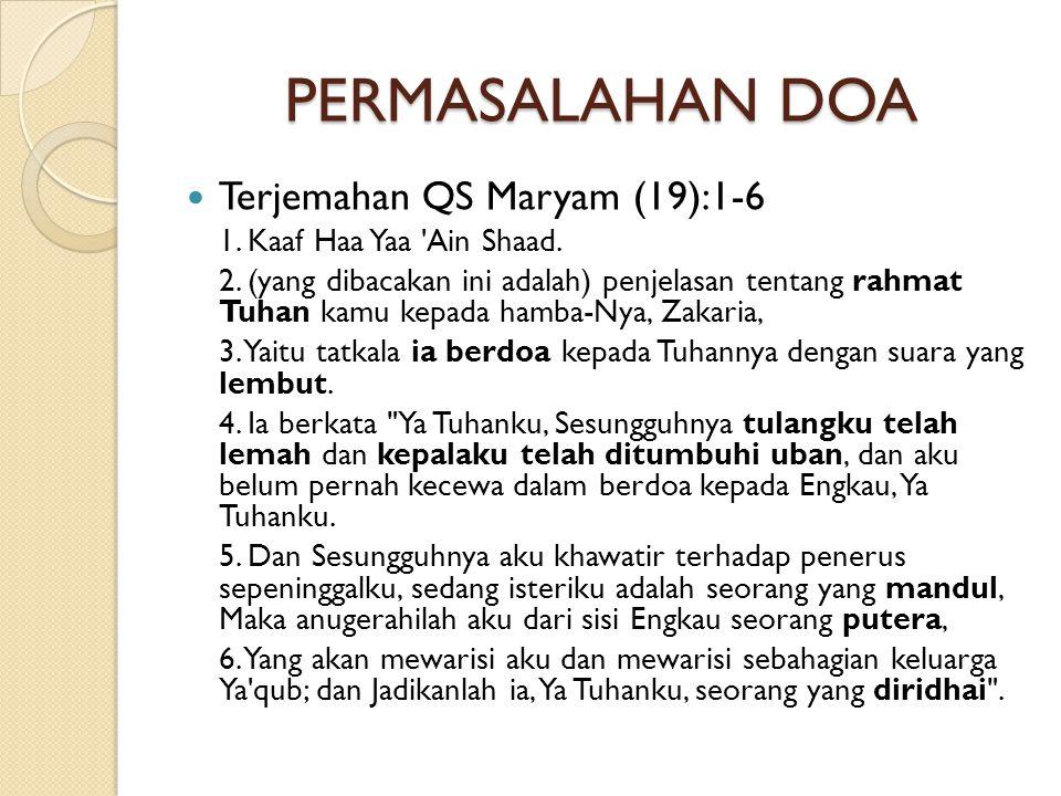 PERMASALAHAN DOA Terjemahan QS Maryam (19):1-6