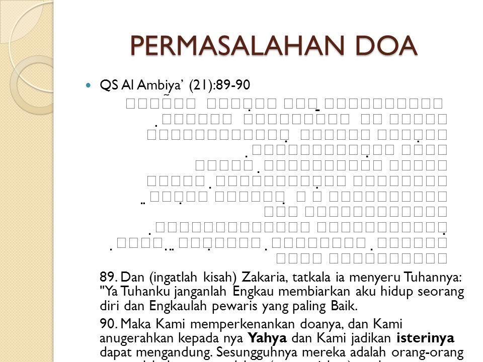 PERMASALAHAN DOA QS Al Ambiya' (21):89-90.