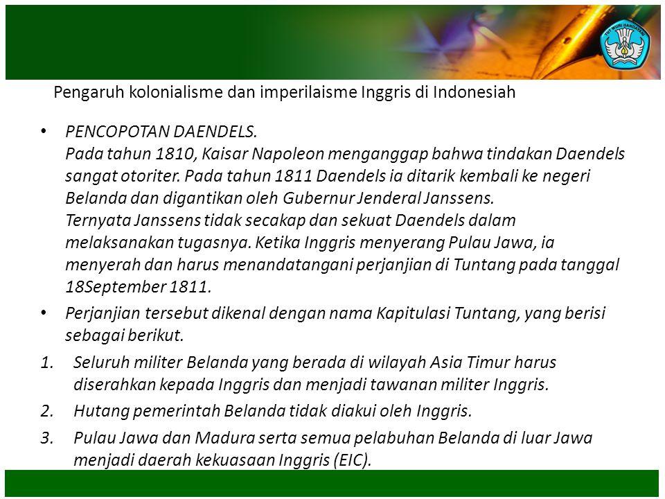 Pengaruh kolonialisme dan imperilaisme Inggris di Indonesiah