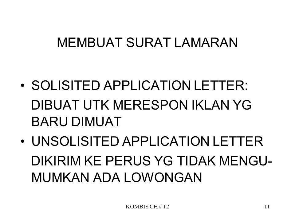 SOLISITED APPLICATION LETTER: DIBUAT UTK MERESPON IKLAN YG BARU DIMUAT