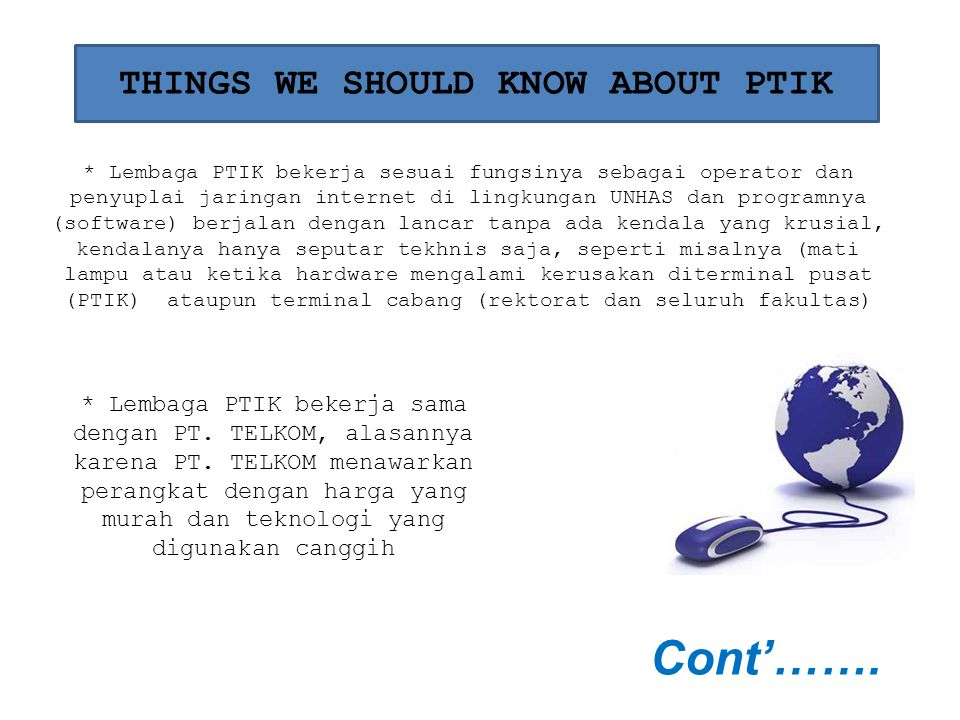 THINGS WE SHOULD KNOW ABOUT PTIK