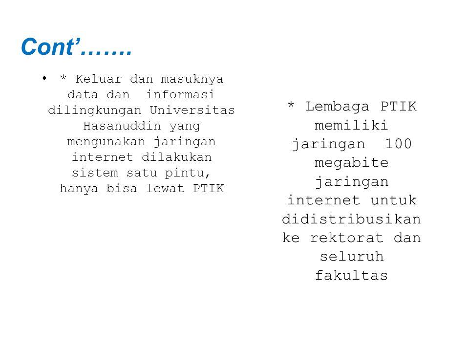 Cont'……. * Lembaga PTIK memiliki jaringan 100 megabite jaringan internet untuk didistribusikan ke rektorat dan seluruh fakultas.