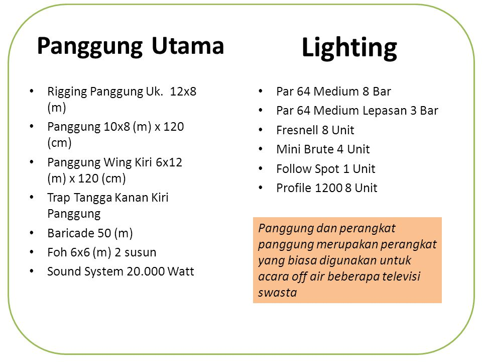 Lighting Panggung Utama Rigging Panggung Uk. 12x8 (m)
