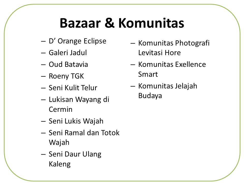 Bazaar & Komunitas D' Orange Eclipse