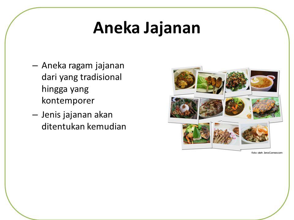 Aneka Jajanan Aneka ragam jajanan dari yang tradisional hingga yang kontemporer.