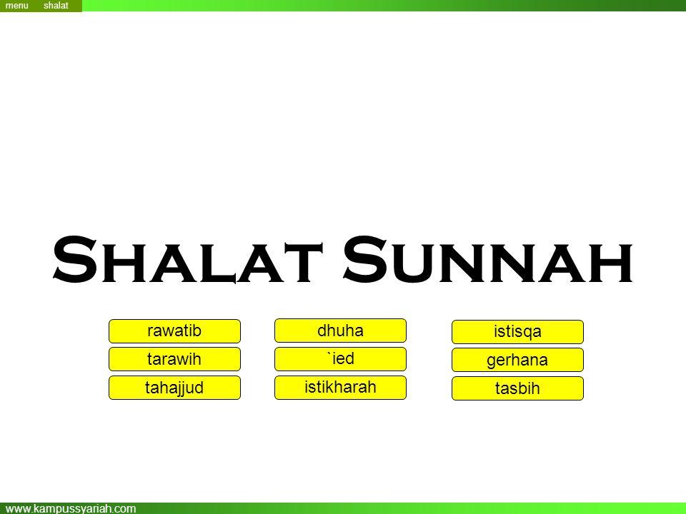 Shalat Sunnah rawatib dhuha istisqa tarawih `ied gerhana tahajjud