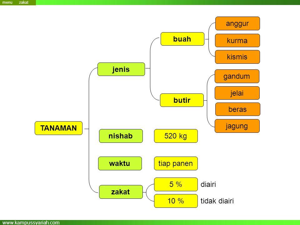 buah jenis butir TANAMAN nishab waktu zakat