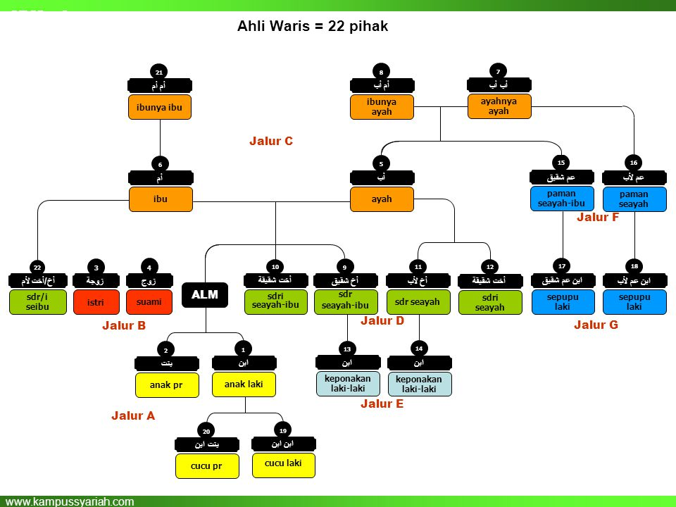 SESI : 2 Ahli Waris = 22 pihak Jalur C Jalur F ALM Jalur D Jalur B