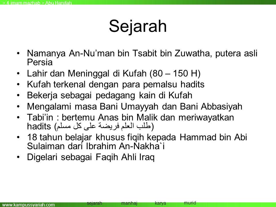 Sejarah Namanya An-Nu'man bin Tsabit bin Zuwatha, putera asli Persia