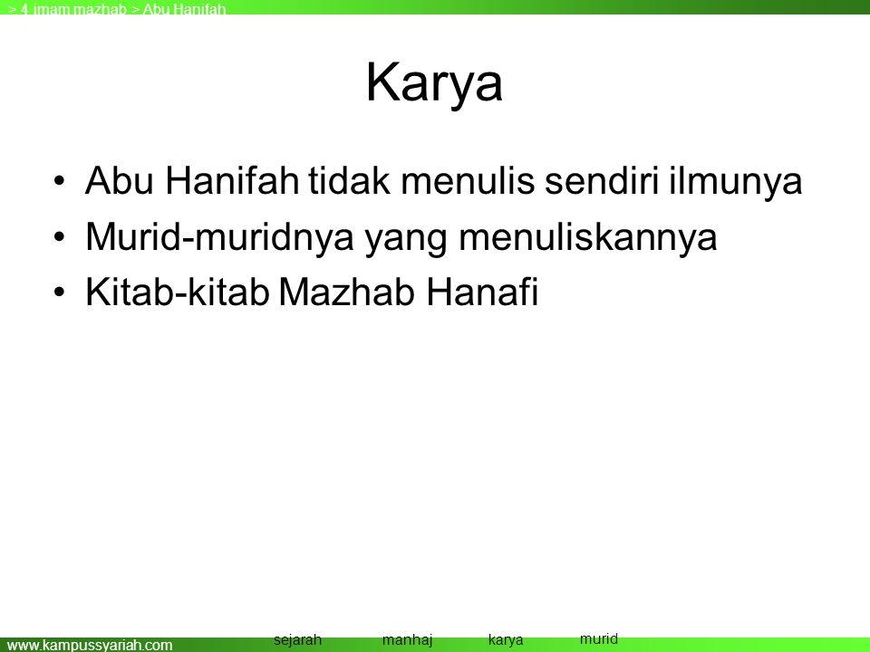 Karya Abu Hanifah tidak menulis sendiri ilmunya