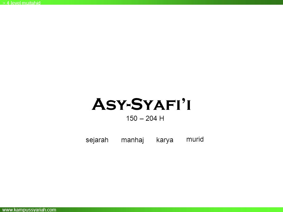 Asy-Syafi'i 150 – 204 H sejarah manhaj karya murid